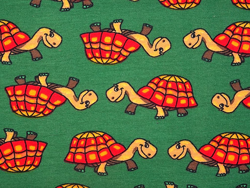 Schildkröten beige rot braun auf grün Baumwolle Rest Baumwolljersey