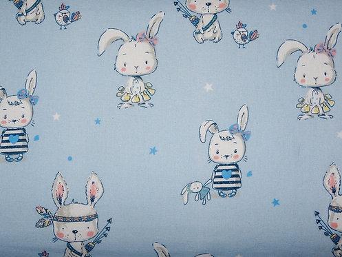 Hase auf hellblau allerliebstes Häschen  boho Cute Baumwolle Meterware