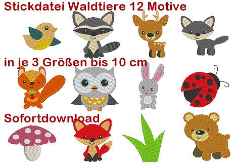 Stickdatei kleine Waldtiere bis 10 cm