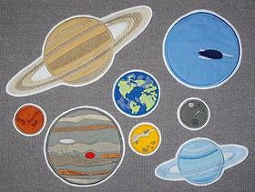 Planeten Weltall Stickdatei in 6 Größen