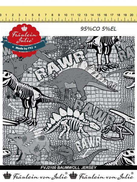 Dino Dinosaurier Skelett grau FVJ Baumwolljersey Jersey Meterware