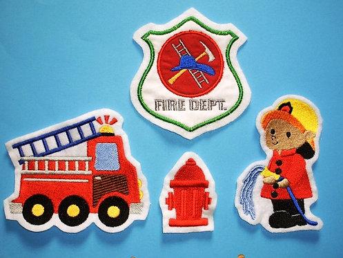 4er Set Feuerwehr Aufnäher