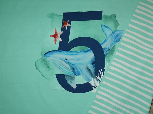 5. Geburtstag mit Wal Panel Digtaldruck Jersey Baumwolljersey