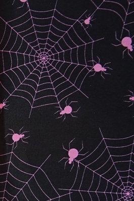 Spinnen rosa pink auf schwarz allover Baumwolle Meterware