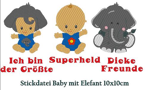 Baby Elefant Stickdatei