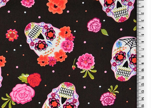 Blumen Skull bunt rosa auf dunkelbraun Baumwolle Meterware