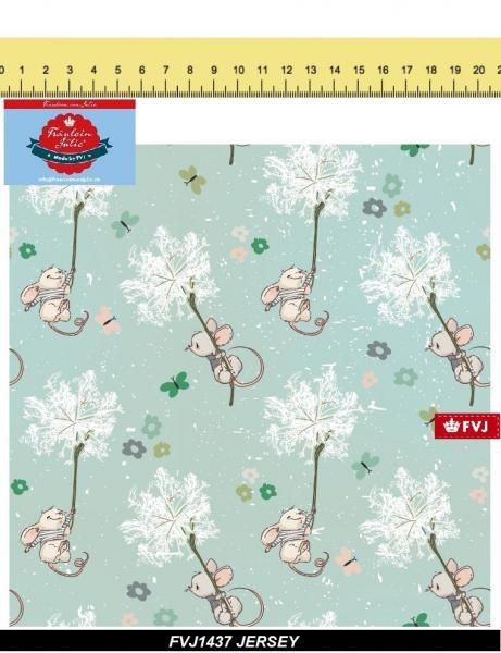 Maus mit Pusteblume türkis Mäuschen Jersey Fräulein von Julie Jersey Digitaldruc