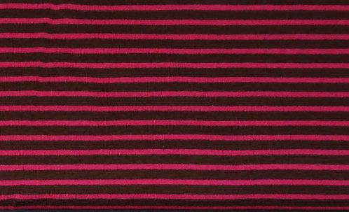 Campan Jersey Streifen dunkelbraun pink Meterware gestreift Ringel
