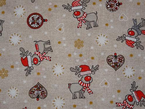 Canvas Rentier Elch Weihnachten Baumwolle Meterware L