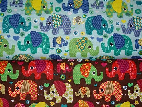 Elefanten bunt auf mint oder braun allover Baumwolle Meterware