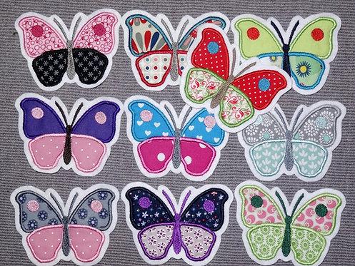 Schmetterling Aufnäher in 10 verschiedenen Farben