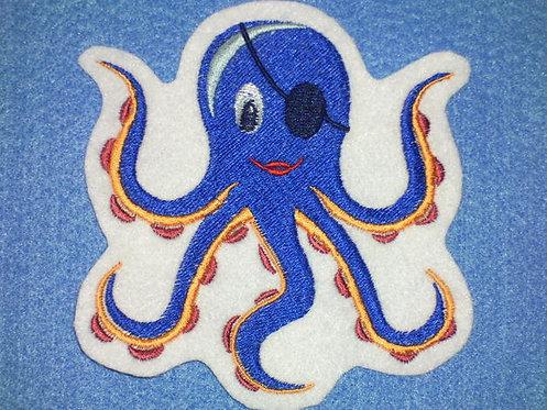 Tintenfisch Aufnäher blau