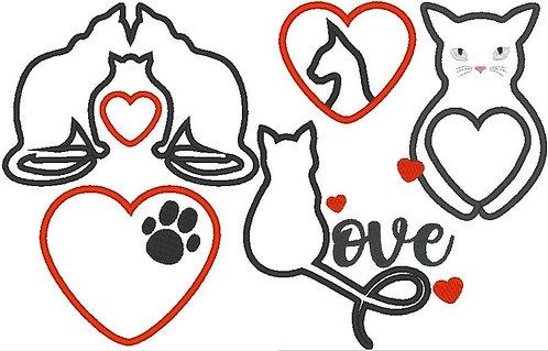 Katze Katzen Liebe Stoff-Aufnäher Stickdatei Herz