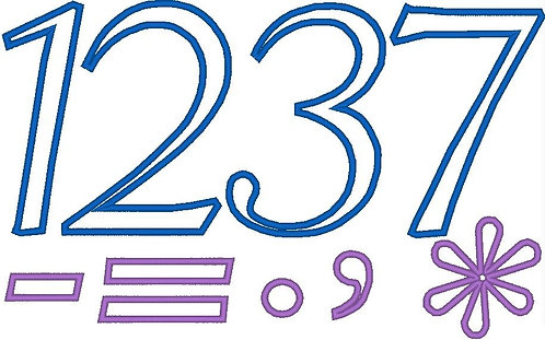 Zahlen 13cm und Rechen Zeichen Stickdatei Mathe Vokabeln