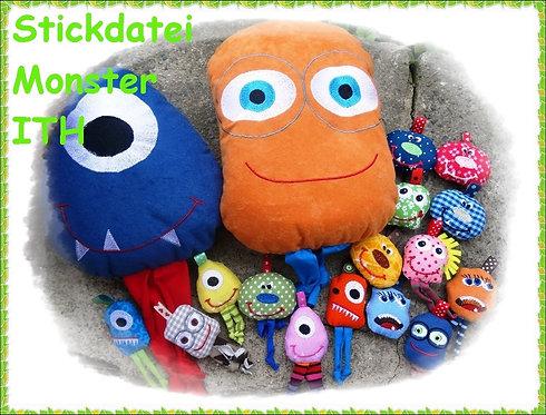 Monster ITH Anhänger + Kissen Stickdatei alle Größen von 6cm bis 28 cm
