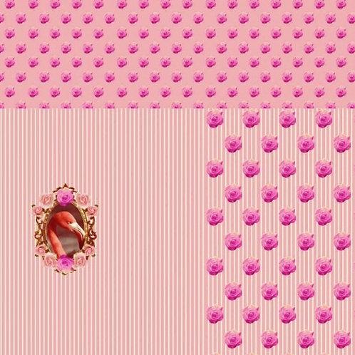 Flamingo Streifen Rosen rosa lachs Panel Digtaldruck Jersey Baumwolljersey