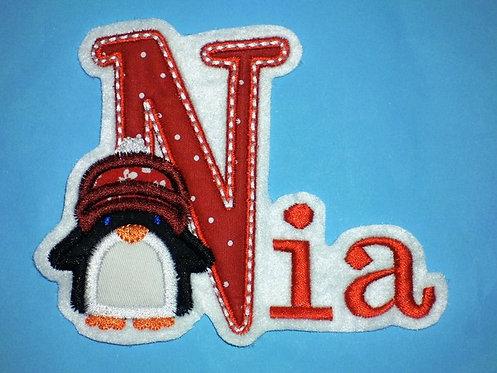 Names Aufnäher mit Pinguin