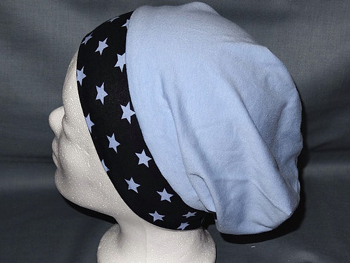 Beanie Sterne uni hellblau Mütze Handmade genäht Jersey