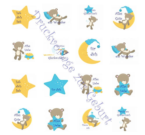 Druckvorlage Sticker zur Geburt mit Babybär Aufkleber