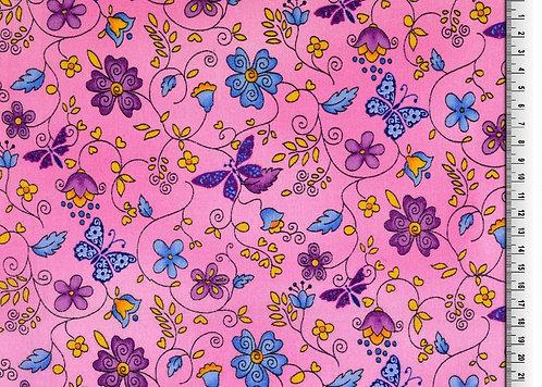 Blumen und Schmetterling rosa Baumwolle Meterware organic