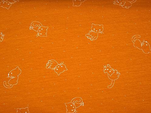 schlichter Jersey mit Katzen auf ocker Baumwolljersey Meterware