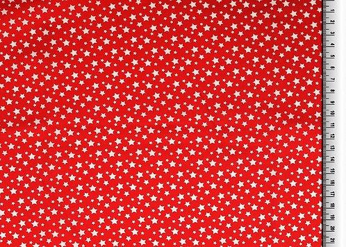 kleine Sterne weiß auf rot Baumwolle Meterware