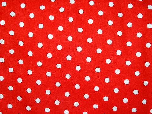 Punkte rot weiß 6mm Baumwolle Webware Baumwollstoff Meterware Topfen Dots