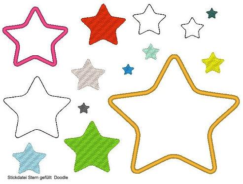 Stickdatei Stern gefüllt, als Doodle und für Stoffapplis
