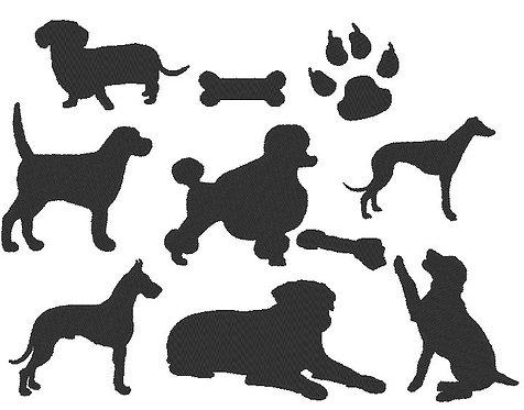 Hunde Silhouetten Stickdatei Hund
