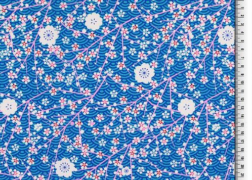 Blumen weiß pink auf blau Baumwolle Meterware Baumwollstoff