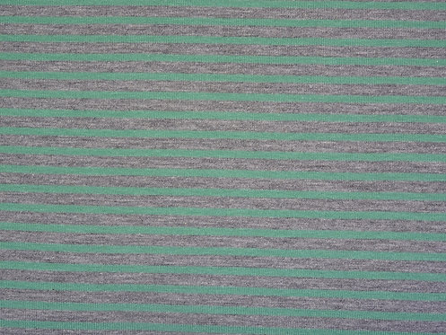 Jersey Streifen grau mint  Meterware gestreift Ringel