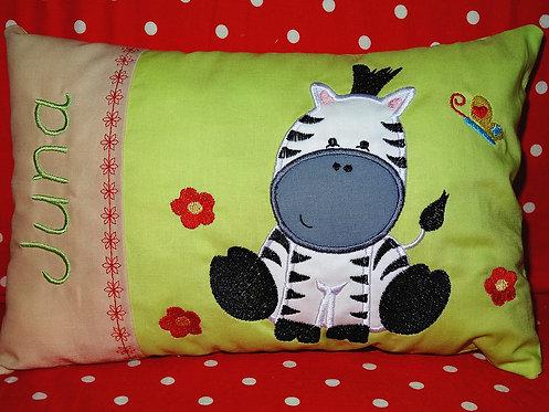 Namenskissen mit Zebra in Wunschfarbe