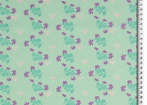 Organic Baumwolle Blumen Blätter auf mint Webware