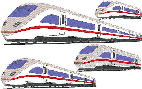Schnellzug 2 Stickdatei Zug Lok Eisenbahn