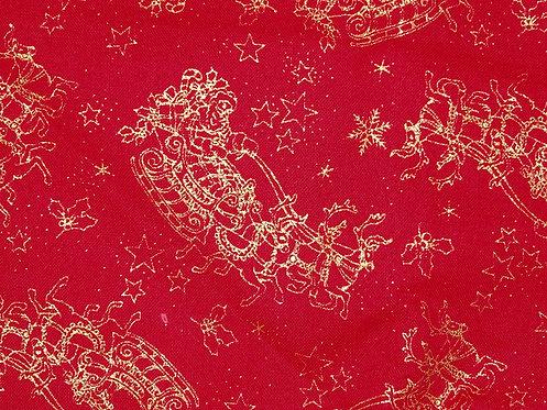 Weihnachtsstoff  Rentierschlitten rot Baumwolle Meterware Golddruck
