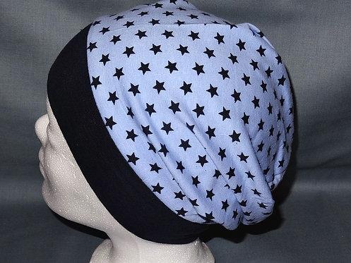 Beanie Sterne hellblau Mütze Handmade genäht Jersey