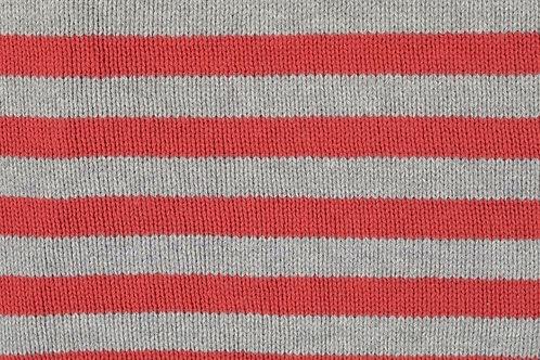 Strick Stoff Streifen Strickstoff Meterware rot grau