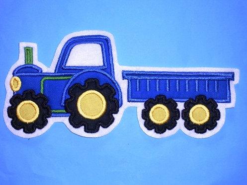 Traktor mit Hänger Aufnäher blau