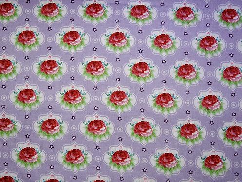 Rosen auf flieder helllila Baumwolle