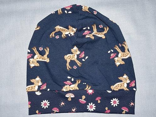 Beanie Reh auf dunkelblau Mütze Tiere Handmade genäht Jersey