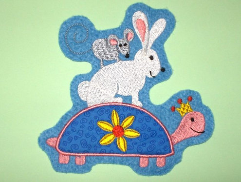 Beste Freunde Schildi Hase und Maus Aufnäher