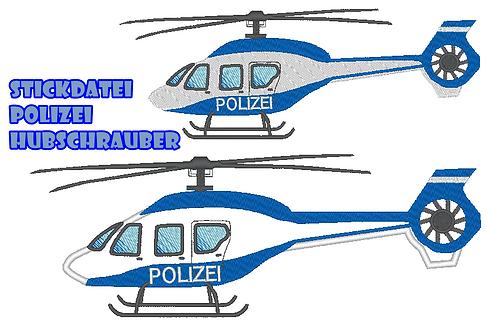 Polizei Hubschrauber Stickdatei