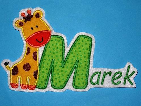 Giraffe mit Name Aufnäher
