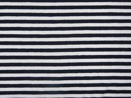 Jersey Streifen 5mm weiß dunkelblau ( fast schwarz ) Meterware