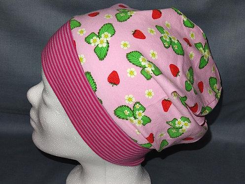 Beanie Erdbeere Streifen rosa pink Mütze Handmade genäht Jersey Mädche