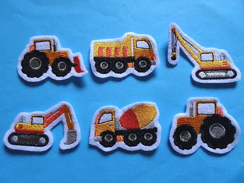 6 Mini Baufahrzeuge Aufnäher gelb orange