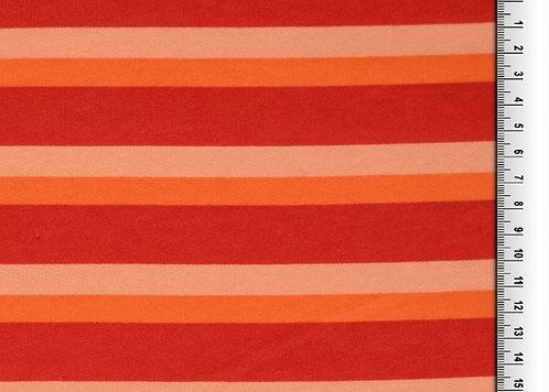 Wintersweat Sweat Streifen rot orange Kombistoff Meterware Ba