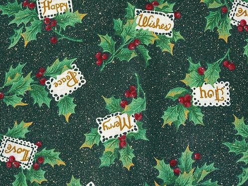 Weihnachtsstoff  Zweige grün Baumwolle Meterware Golddruck