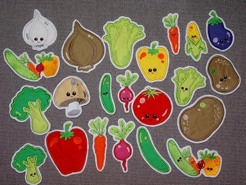 Gemüse Gurke Salat Paprika Kartoffel Möhre Zwiebel Aufnäher Applikation