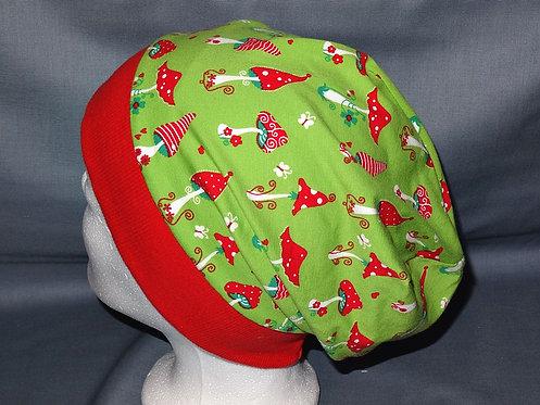 Beanie Fliegenpilz grün Mütze Handmade genäht Jersey Mädchen